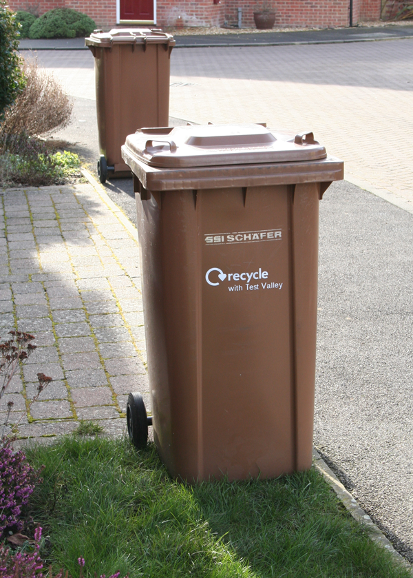 Brown Wheeled Bins Out For Collection