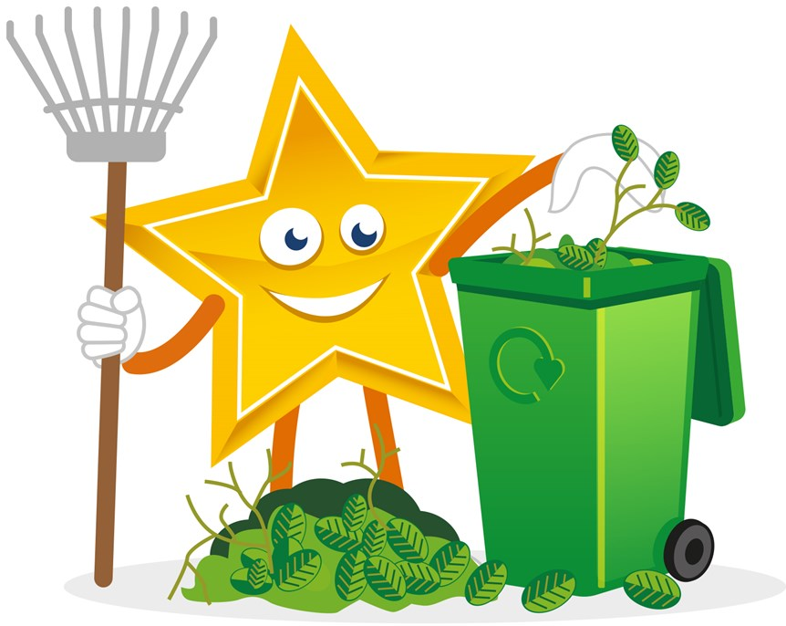 Recycling Star with Garden Waste Wheeled Bin
