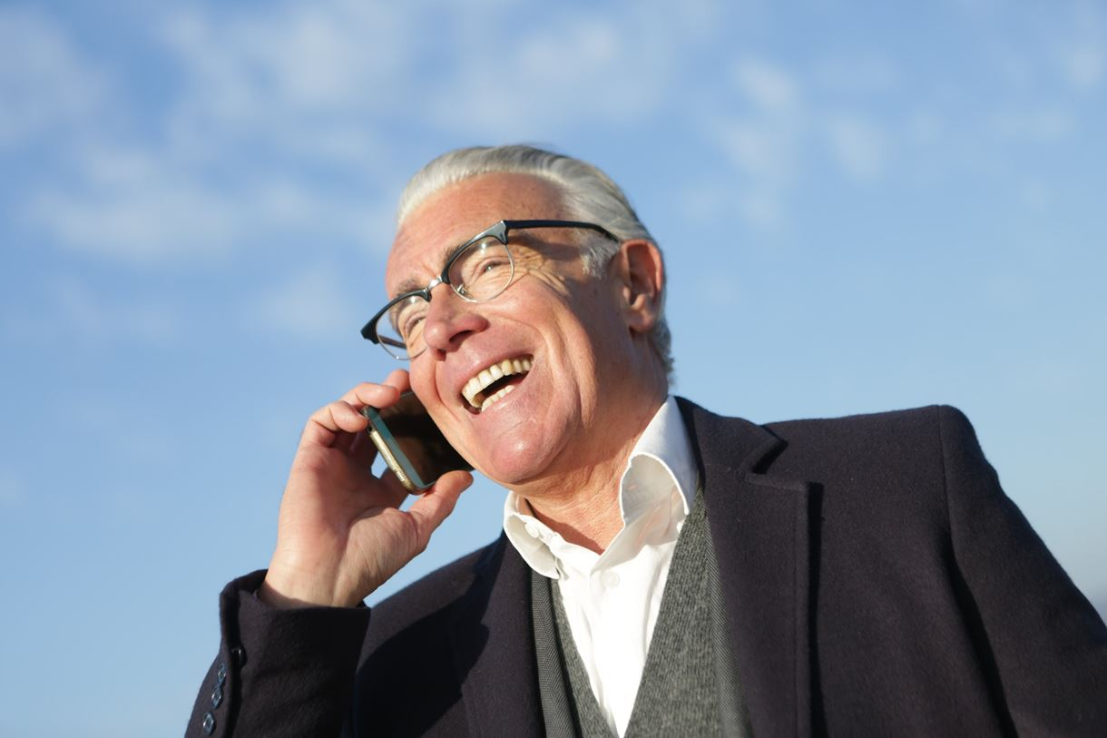 Phone call, Older gentleman smiling