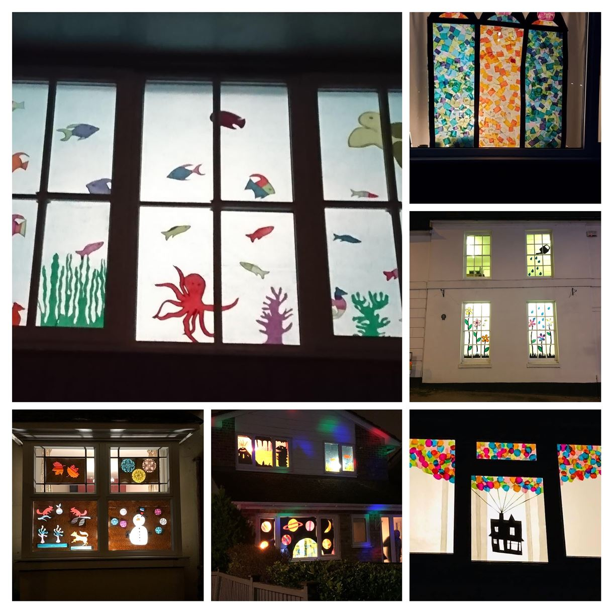 A selection of windows in the Winter Wanderland