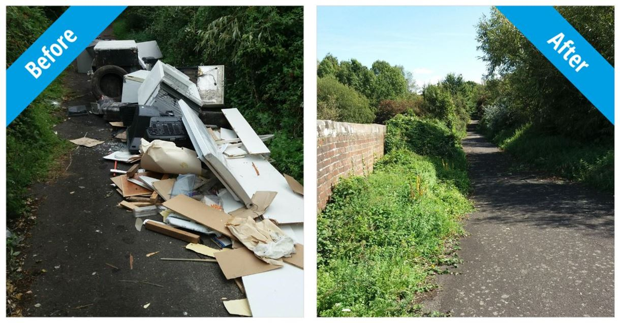 Fly tipping before and after