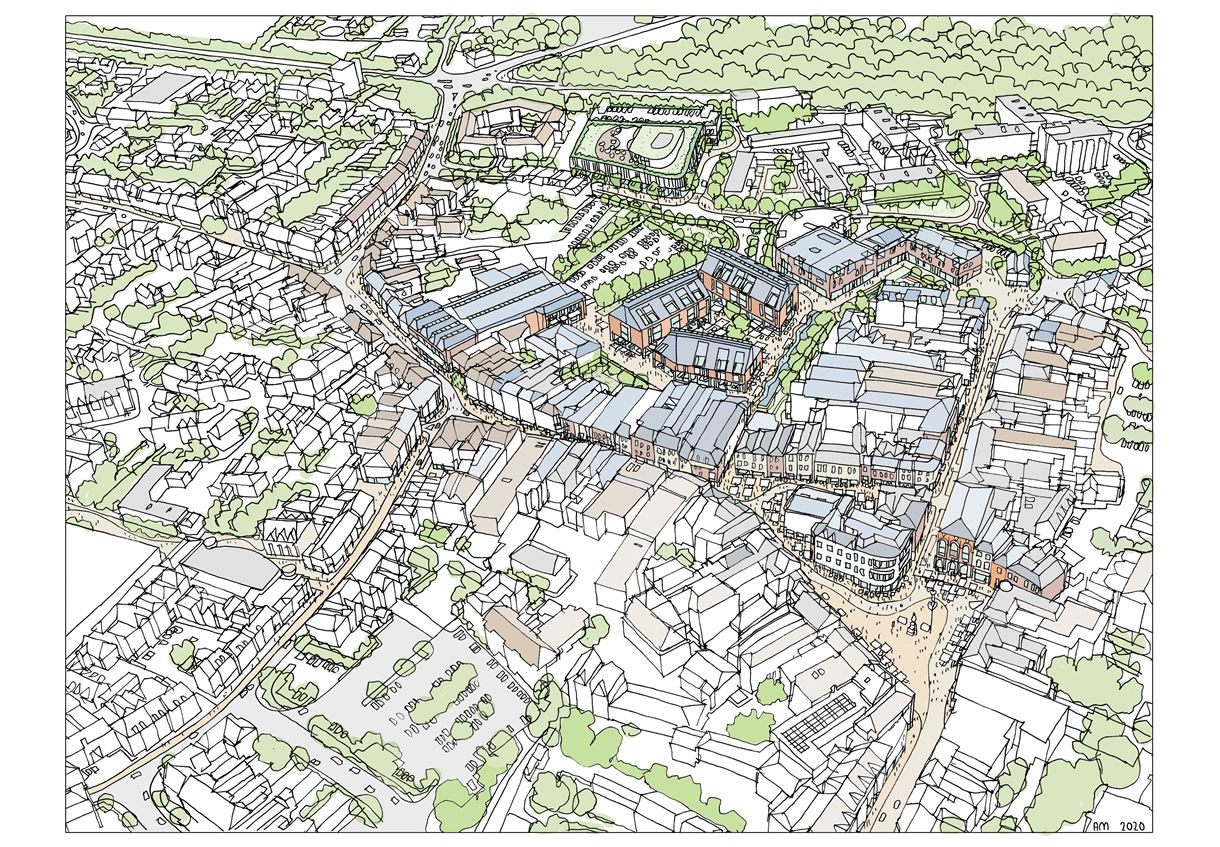 aerial view colour Romsey Town Centre proposals